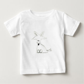 fox a tiragem simples cinzenta branca preta dos camiseta para bebê