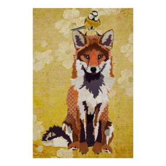 Fox ambarino poster pequeno da arte do pássaro