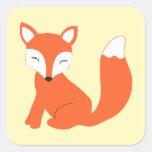 Fox bonito do bebê da floresta adesivos quadrados