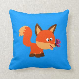 Fox bonito dos desenhos animados e travesseiro da almofada