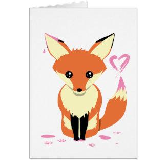 Fox bonito que pinta o cartão cor-de-rosa do