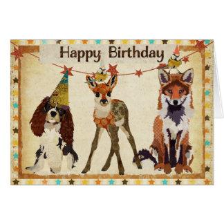 Fox, cão, jovem corça, & cartão de aniversário