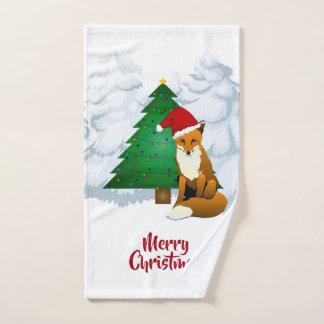 Fox da árvore e do papai noel de Natal - toalha de