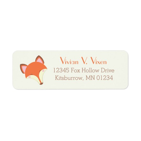 Fox de Kawaii Etiqueta Endereço De Retorno