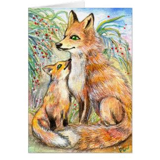 Fox do Mama e do bebê Cartão De Nota