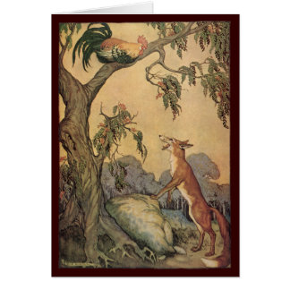 Fox do vintage, o galo e a fábula de Esopo do cão Cartao