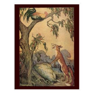 Fox do vintage, o galo e a fábula de Esopo do cão Cartoes Postais