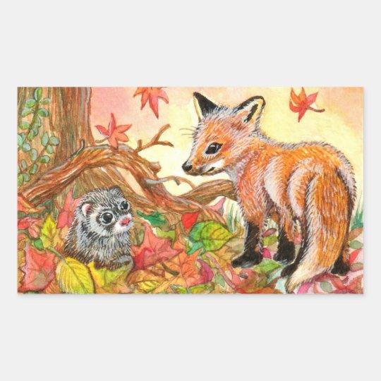 Fox e doninha nas folhas de outono adesivo retangular