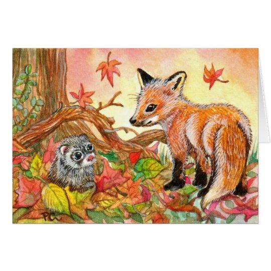 Fox e doninha nas folhas de outono cartão de nota