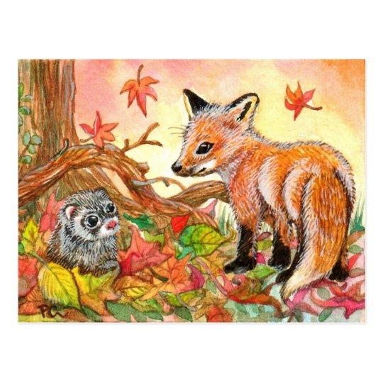Fox e doninha nas folhas de outono cartão postal