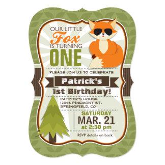 Fox engraçado da floresta com festa de aniversário convite 12.7 x 17.78cm