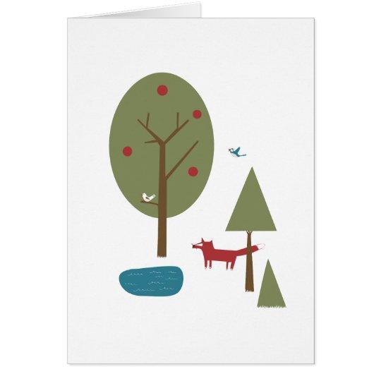 Fox na floresta cartão