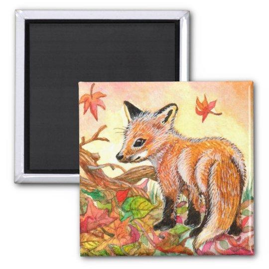 Fox nas folhas de outono ímã quadrado