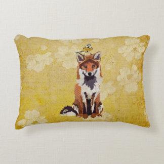 Fox & pouco travesseiro do pássaro do ouro almofada decorativa