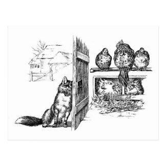 Fox que Eavesdropping em galinhas Cartoes Postais