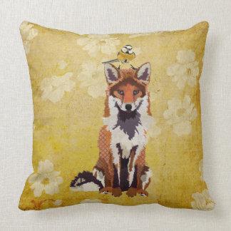 Fox retro & travesseiro pequeno do pássaro