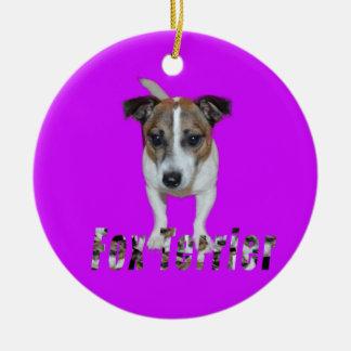 Fox Terrier com logotipo, ornamento cerâmico roxo