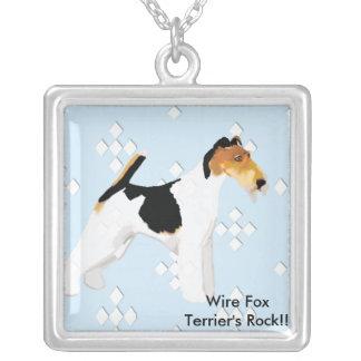 Fox Terrier do fio - azul com design branco do Colar Banhado A Prata