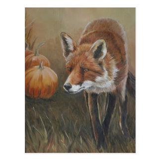 Fox vermelho com o cartão da arte das abóboras