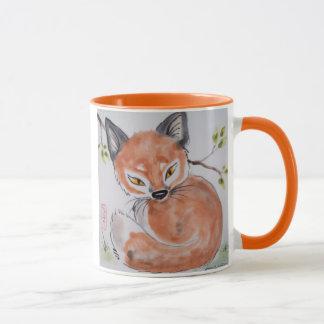 Fox vermelho observador, caneca oriental do design