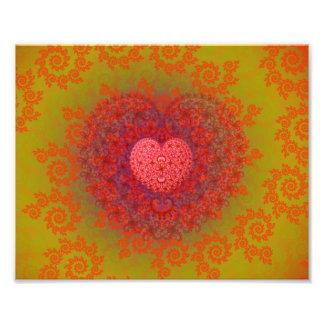 Fractal amarelo & alaranjado vermelho do coração impressão de foto