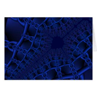 Fractal azul elétrico cartão comemorativo