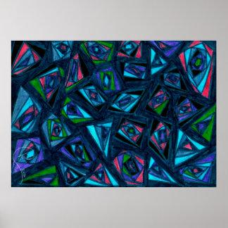 Fractal azul pôster