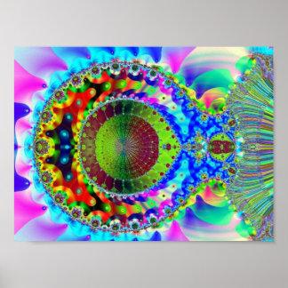 Fractal de néon psicadélico poster