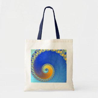 Fractal do caracol azul e amarelo bolsa para compra