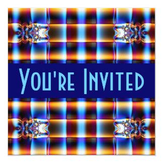 fractal do marrom azul convite quadrado 13.35 x 13.35cm
