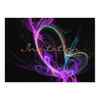 Fractal elétrico cor-de-rosa convite 12.7 x 17.78cm