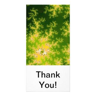 Fractal verde de incandescência cartão com foto