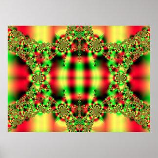 Fractal verde e vermelho do Tartan postal Poster