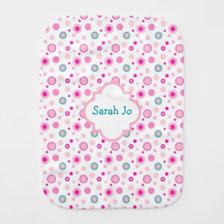 Fralda De Boca Bolinhas cor-de-rosa bonito personalizadas