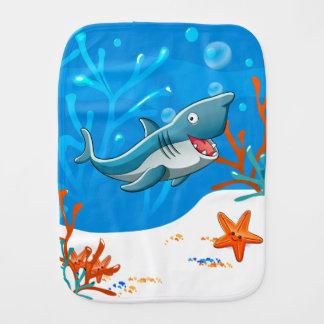 Fralda De Boca Burp bonito do bebê do oceano do tubarão