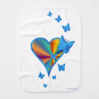Fralda De Boca Coração e borboleta do arco-íris