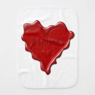 Fralda De Boca Melissa. Selo vermelho da cera do coração com