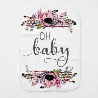Fralda De Boca Oh bebé floral chique das penas do bebê | Boho