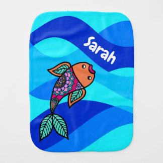 Fralda De Boca Pano modelado ondulado azul personalizado do Burp