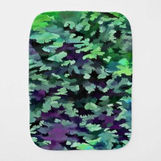 Fralda De Boca Pop art abstrato da folha no verde e no roxo de