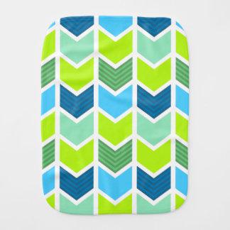 Fralda De Boca Teste padrão geométrico verde e azul moderno de