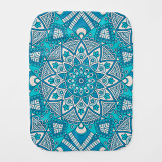 Fralda De Boca Teste padrão vitral de Boho de turquesa floral