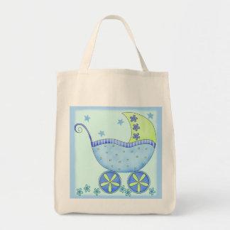 Fralda do presente do menino do carrinho de bebê sacola tote de mercado