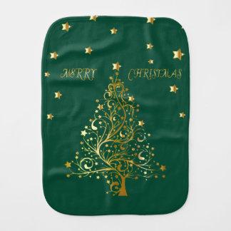 Fraldinha De Boca Árvore de Natal metálica bonita do ouro no verde