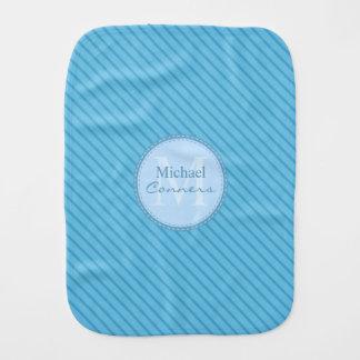 Fraldinha De Boca Monograma do costume das listras de azuis bebés