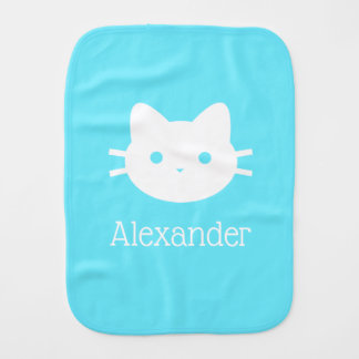 Fraldinha De Boca Pano azul personalizado do Burp do gato do gatinho