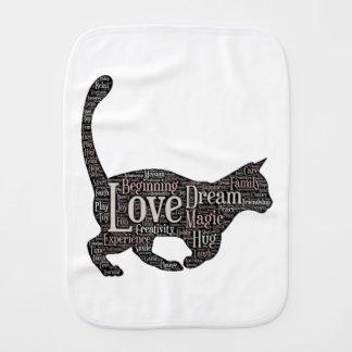 Fraldinha De Boca Pano bonito e inspirado do Burp com gato preto