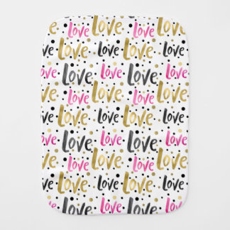 Fraldinha De Boca Pontos cor-de-rosa dos confetes do amor do preto