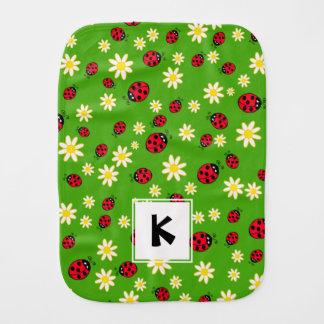 Fraldinha De Boca verde bonito do teste padrão de flor do joaninha e