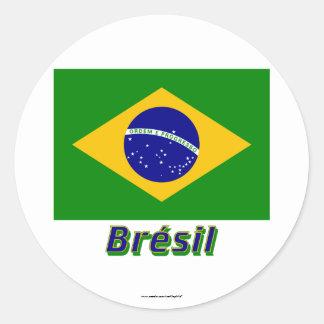 Français de Drapeau Brésil avec le nom en Adesivos